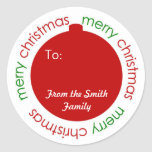 Christmas ornament To and From label sticker
