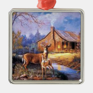 Christmas Ornament with a Doe Deer and her Fawn