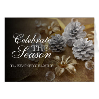 Christmas Ornament With Silver Pine Cones Greeting Card