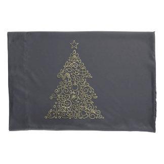 Christmas ornamental line golden Christmas tree Pillowcase