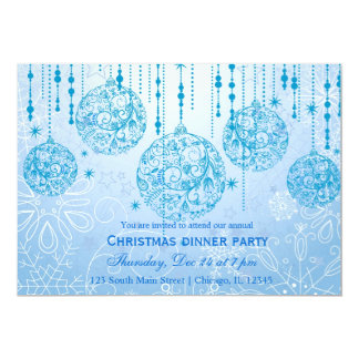 Christmas Ornaments (Blue) 13 Cm X 18 Cm Invitation Card