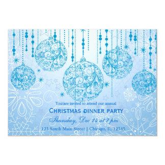 Christmas Ornaments (Blue) 13 Cm X 18 Cm Invitation Card