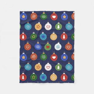 Christmas Ornaments - Blue Holiday Pattern Fleece Blanket