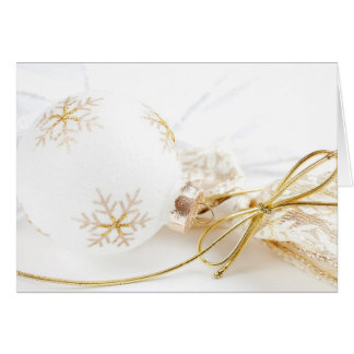 Christmas Ornaments Fancy Gold White Glitter Greeting Card