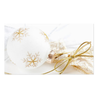 Christmas Ornaments Fancy Gold White Glitter Pack Of Standard Business Cards