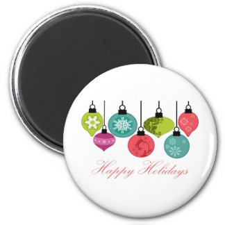 Christmas Ornaments Happy Holidays Refrigerator Magnets