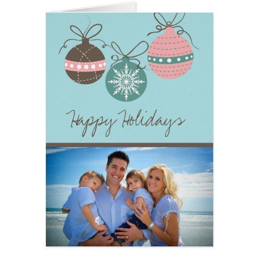 Christmas Ornaments Holiday Folded Card-blue