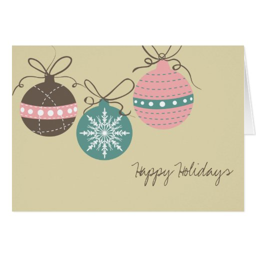 Christmas Ornaments Holiday Folded Note Card-tan