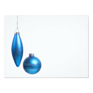 Christmas Ornaments in Bright Teal Blue - Holiday Card