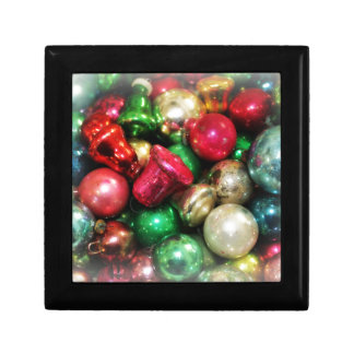 christmas ornaments vintage still life gift box