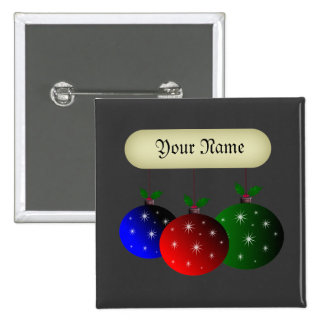 Christmas ornaments with snowflakes. Add your name 15 Cm Square Badge