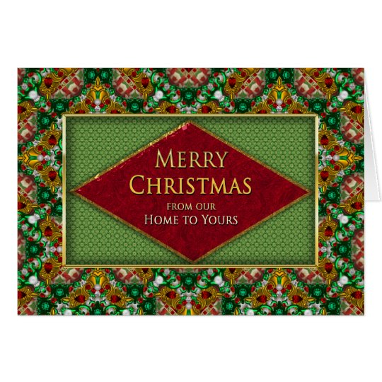 CHRISTMAS - OUR HOME TO YOURS -  FAUX JEWELS CARD