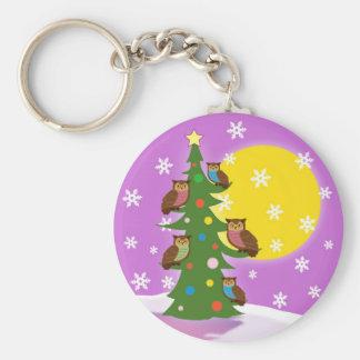 Christmas owl basic round button key ring