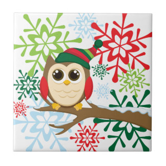 Christmas owl ceramic tile
