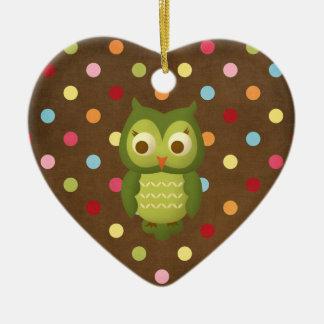 Christmas Owl Ceramic Heart Decoration