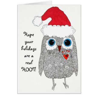 Christmas Owl Greeting Card (You can Customize)