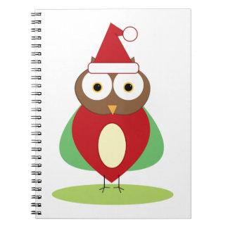 Christmas Owl Spiral Notebooks