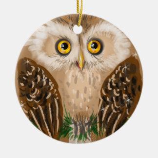 Christmas owl round ceramic decoration
