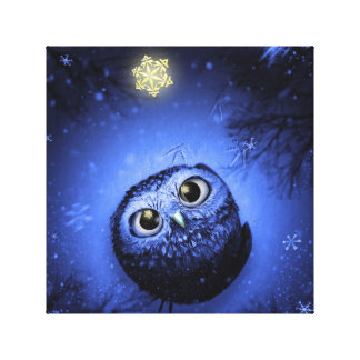 Christmas Owl Stretched Canvas Prints