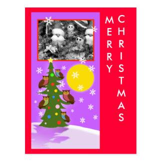 Christmas owl tree postcard