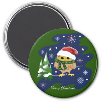 Christmas owl, trees, snowflakes and custom text magnet