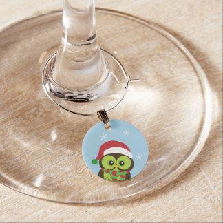 Christmas Owl Wine Charm