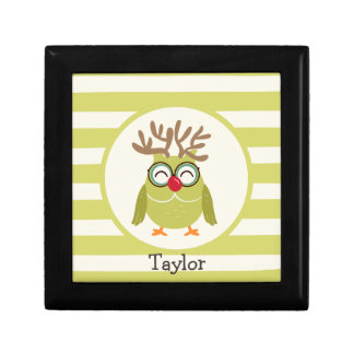 Christmas Owl with Light Green Retro Stripes Gift Box