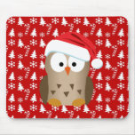 Christmas Owl with Santa Hat Mouse Pads