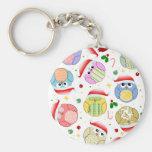 Christmas Owls Design Basic Round Button Key Ring