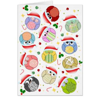 Christmas Owls Design Greeting Card