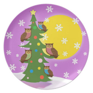Christmas Owls Dinner Plate