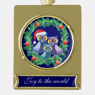 Christmas owls family joy to the world gold plated banner ornament