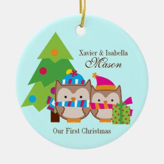 Christmas Owls - First Christmas Round Ceramic Decoration
