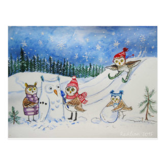 Christmas owls playing in snow postcard