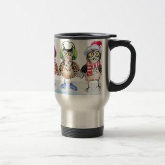 Christmas owls watercolor art coffee mug