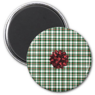 Christmas package red bow 6 cm round magnet
