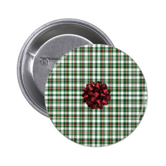 Christmas package red bow pinback button