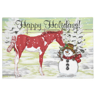 Christmas Paint Horse Foal and Snowman Print Doormat
