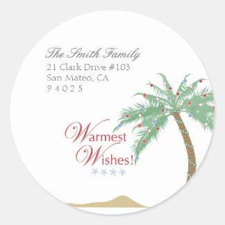 Christmas Palm Tree Return Address Labels Round Sticker