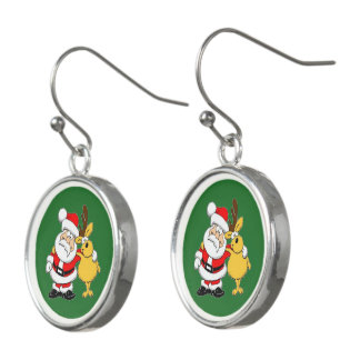 Christmas Pals with Santa and Deer Drop Earrings
