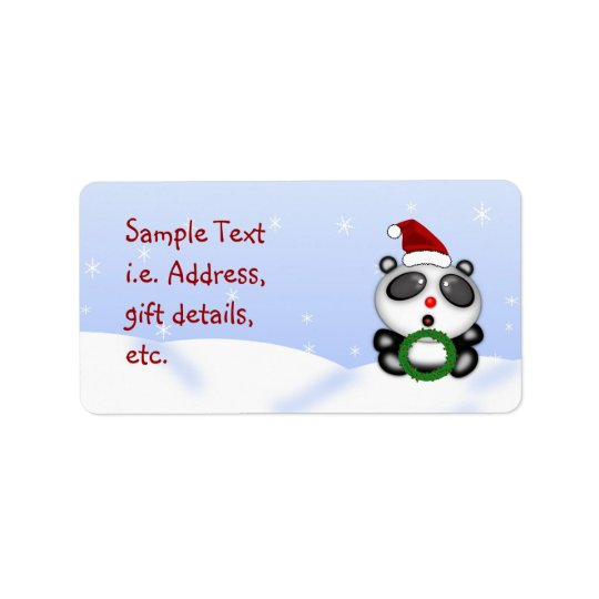 Christmas Panda Bear Customisable Label