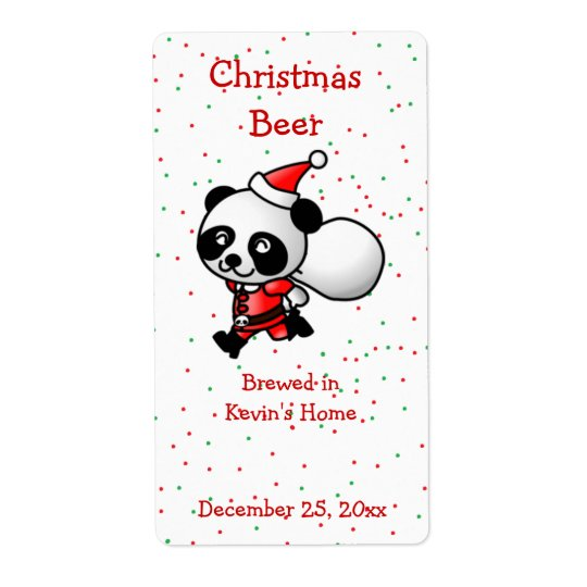 Christmas Panda Bear Mini Beer Label Shipping Label