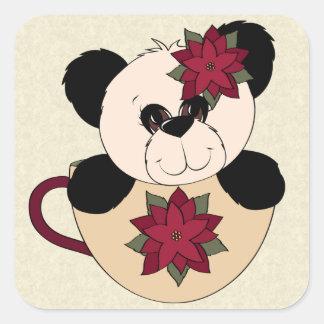 Christmas Panda Bear Square Sticker