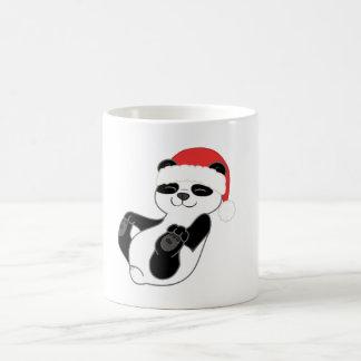 Christmas Panda Bear with Red Santa Hat Basic White Mug