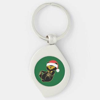 Christmas Panda Bear with Red Santa Hat Silver-Colored Swirl Key Ring