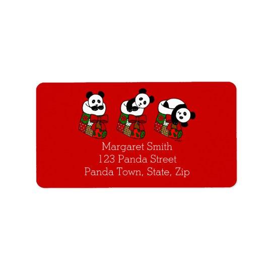 Christmas Panda Cartoon Stocking Address Label