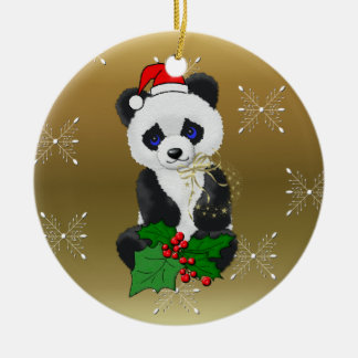 Christmas Panda Ceramic Ornament