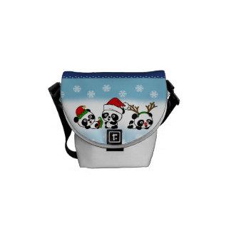Christmas Pandas Courier Bags