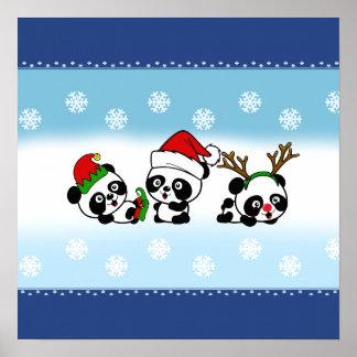 Christmas Pandas Poster