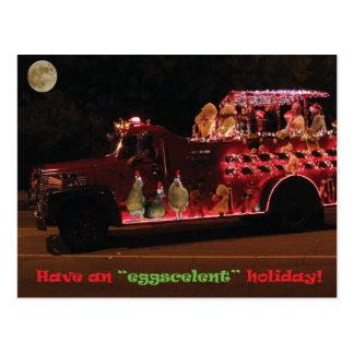 Christmas Parade Chickens Postcard